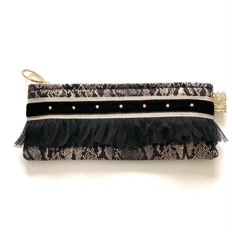 ペンケース( Japan  Python  cotton・ beige black  ribbon)