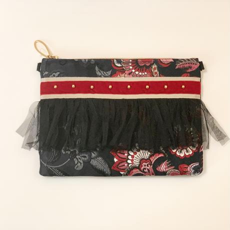 クラッチバッグ(Japan 西陣織・beige  red ribbon)