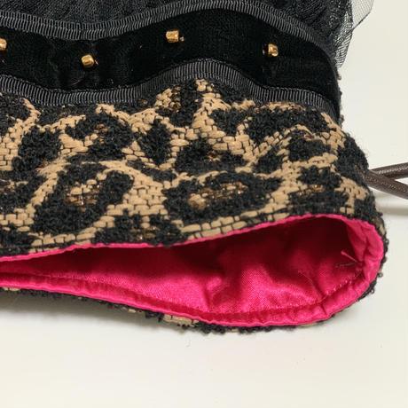 巾着バッグ Sサイズ(Japan tweed・beigeLeopard)
