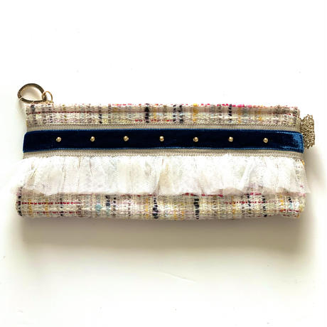 ペンケース(Japan   ivory check tweed・  beige navy ribbon)