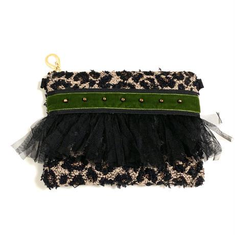 ショルダーポーチ L size(Japan tweed・  Black khaki ribbon )