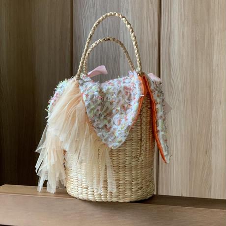 カゴカバー Sサイズ(England tweed・ White colorful fringe tweed)