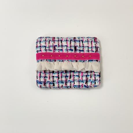 ティッシュケース(England colorfultweed ・pink ribbon)