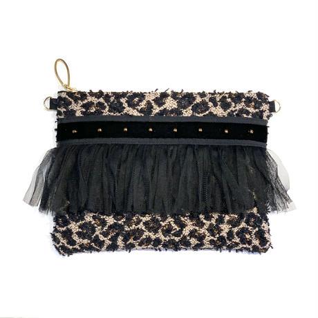 クラッチバッグ(Japan tweed・marron leopard・ black ribbon)
