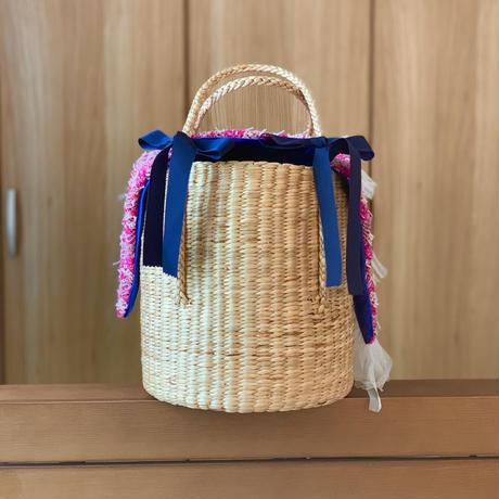 カゴバッグ Mサイズ(England tweed・Thick pink check )