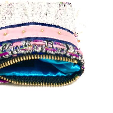 ポーチミニ(Japan pinkpurple tweed ・navy pink  ribbon)