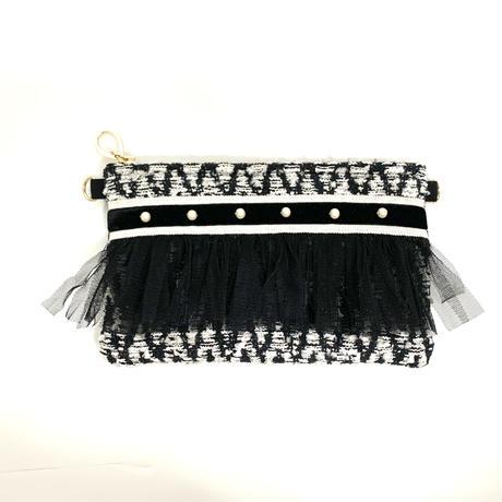 ショルダーポーチ(Italy tweed・White Black ribbon )