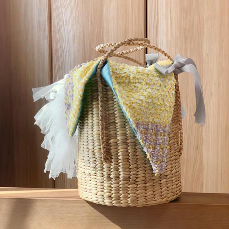 パッチワークツイード カゴバッグ Sサイズ(England tweed ・ yellow sky blue  patchwork)