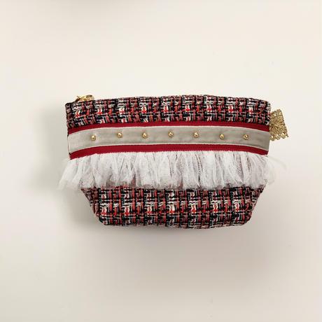 ポーチマチ付き(Japan tweed・tricolore・red gray ribbon)
