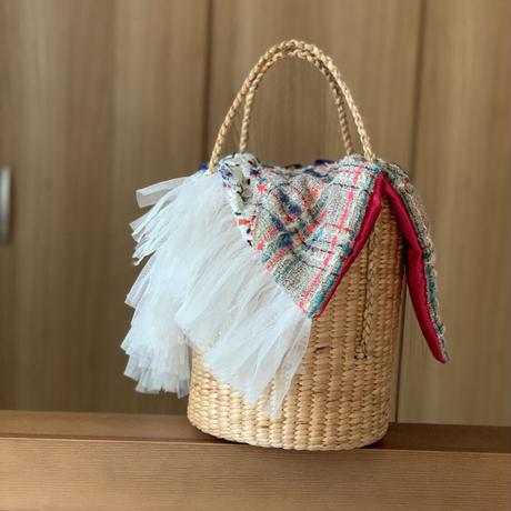 パッチワークツイード カゴバッグ Sサイズ(England tweed ・White beigechecktweed patchwork)