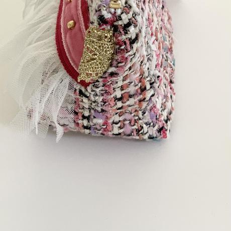 ポーチマチ付き(Japan   pink colorful tweed・ red pink ribbon)