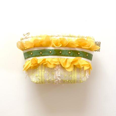 ポーチマチ付き(Japan  neon yellow tweed・White green ribbon)