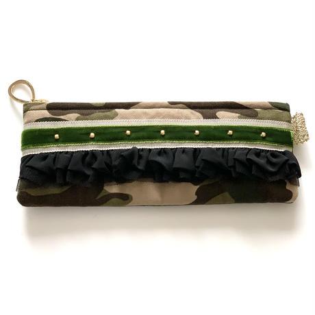 ペンケース(Japan   camouflage cotton・   beige khaki  ribbon)