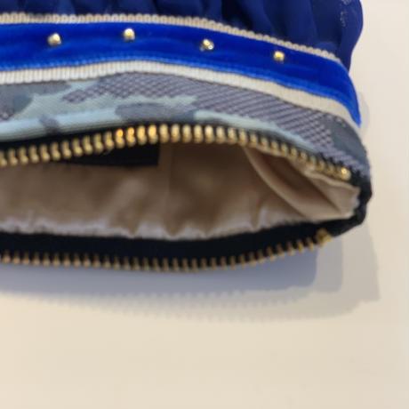 ポーチミニ(西陣織 ・camouflage beige blue ribbon)