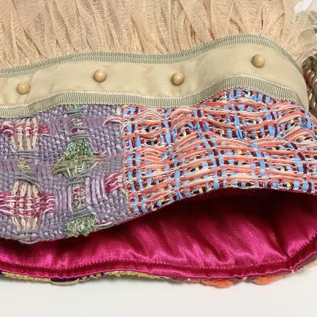 巾着バッグ Mサイズ マチなし(England tweed patchwork)