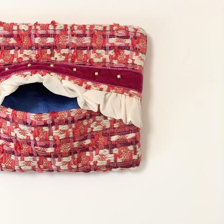 ティッシュケース(England red tweed ・  red ribbon)
