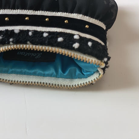 ポーチミニ( Japan tweed ・White black ribbon)