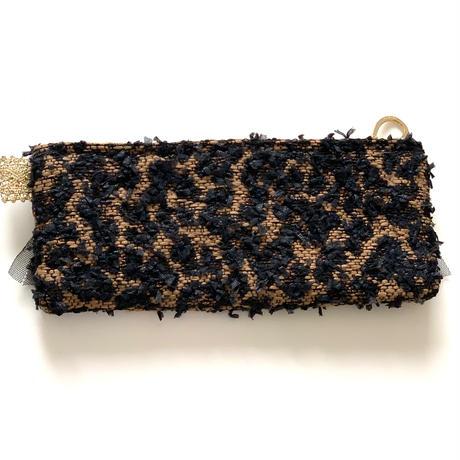 ペンケース(Japan leopard tweed・ black red ribbon)