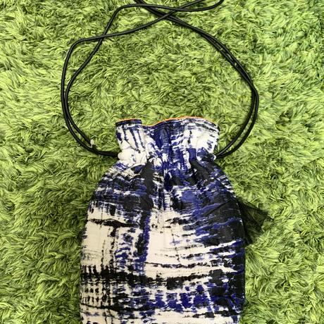 巾着バッグ Sサイズ(France textile・Blue Black)