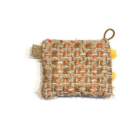 ポーチミニ(Japan orange brown tweed ・White green  ribbon)