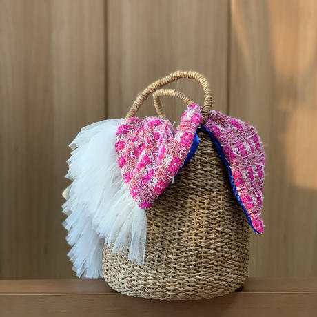 カゴカバー Mサイズ(England tweed・Thick pink check)