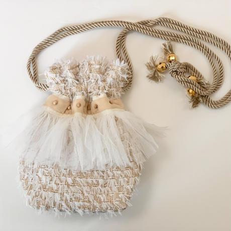 巾着バッグ Sサイズ(England tweed ivory fringe)