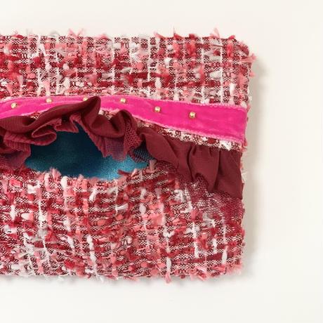 ティッシュケース(Japan red ltweed ・ pink ribbon)