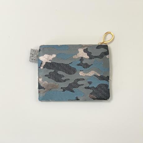 ポーチミニ( Japan camouflage西陣織 ・gray sky blue ribbon)