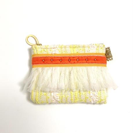 ポーチミニ( Japan tweed ・White yellow ribbon)