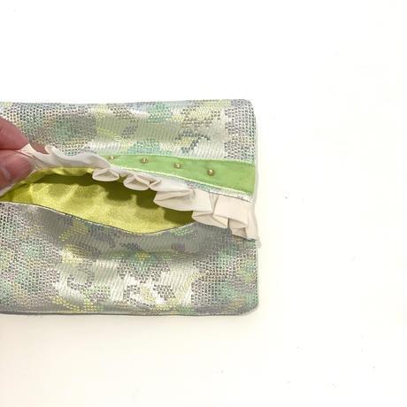 ティッシュケース(西陣織・yellow-green flower ・  yellow-green ribbon)