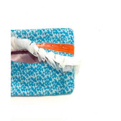 ティッシュケース( France  sky blue  tweed・orange  ribbon)