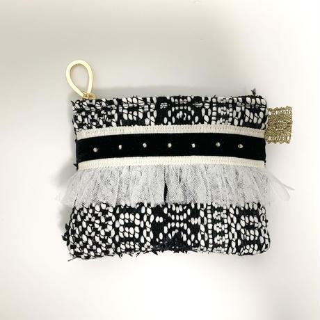 ポーチミニ(France tweed・White Black ribbon )