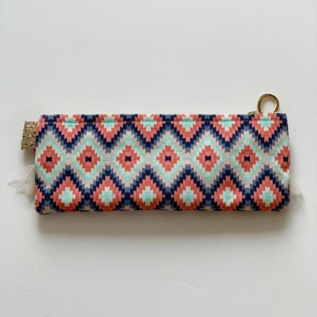 ペンケース( USA geometric pattern  cotton・    White red  ribbon)