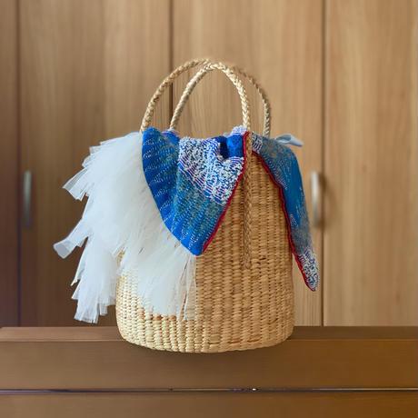 カゴバッグ Mサイズ(England tweed・blue white pink pattern )