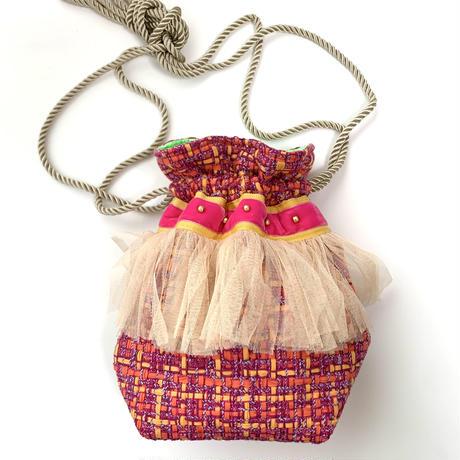 巾着バッグ Sサイズ(japan tweed・pink orange )