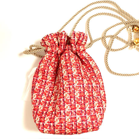 巾着バッグ Sサイズ(England tweed・orange pink ribbon )