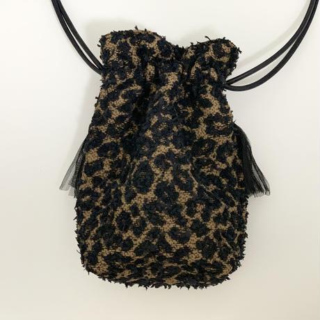 巾着バッグ Sサイズ(Japan tweed・Leopard・Black× navy blue ribbon)