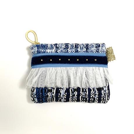 ポーチミニ( Japan tweed ・sky blue navy ribbon)