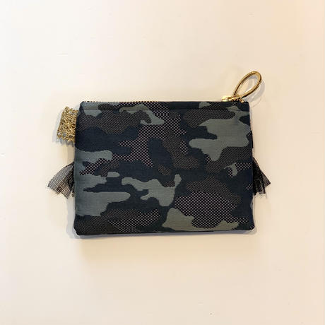 ポーチミニ(西陣織 ・camouflage red black ribbon)