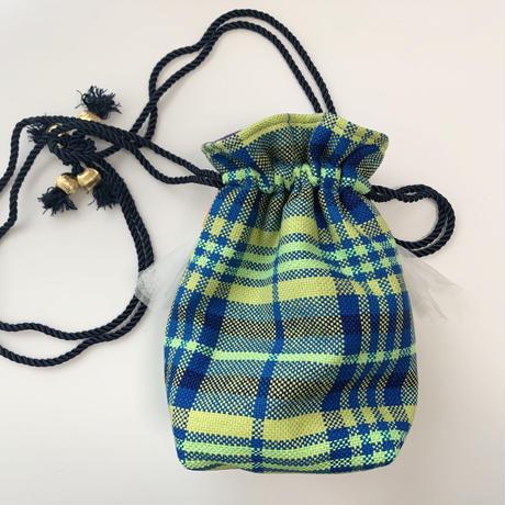 巾着バッグ Sサイズ(England tweed・blueyellow check)