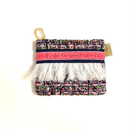 ポーチミニ( japan tweed ・navy pink  ribbon)