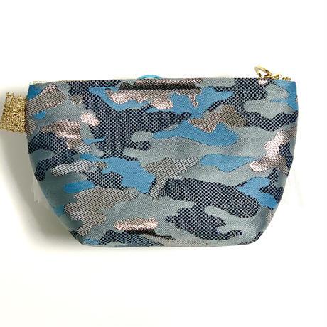 ポーチマチ付き( 西陣織   camouflage silver・ light gray sky blue ribbon)