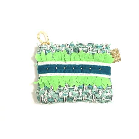 ポーチミニ( Japan tweed ・White blue ribbon)