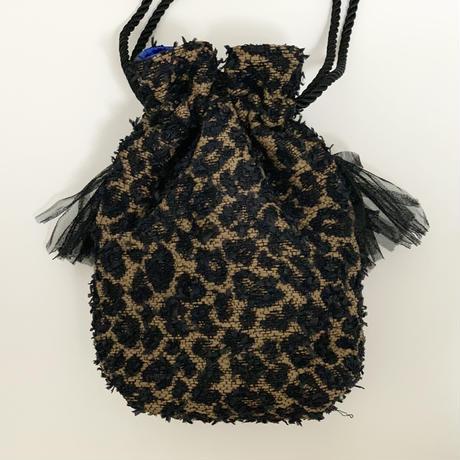 巾着バッグ Sサイズ(Japan tweed・Leopard・beige×Black ribbon)