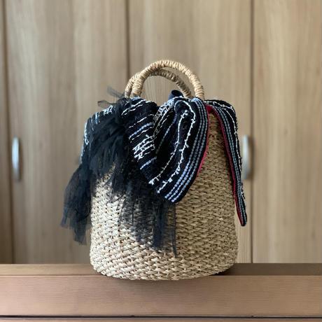 カゴバッグ Mサイズ(Japan tweed・BLACK White)