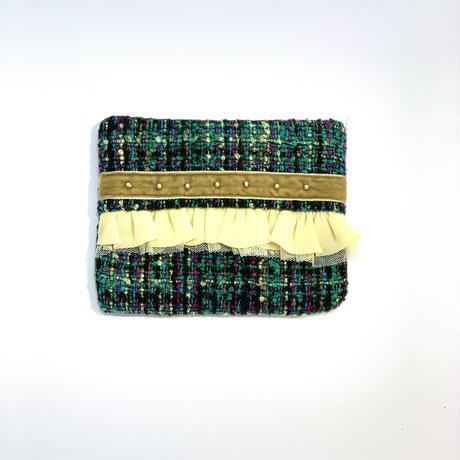 ティッシュケース(Japan green tweed・ Olive ribbon)