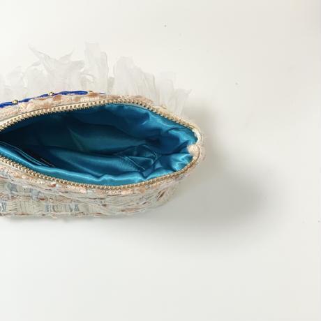 ポーチマチ付き(England tweed・ orange blue ribbon)