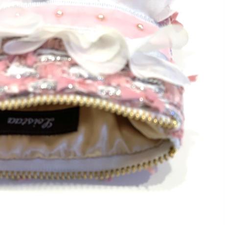 ポーチミニ(Japan pink silver tweed ・light gray pink  ribbon)