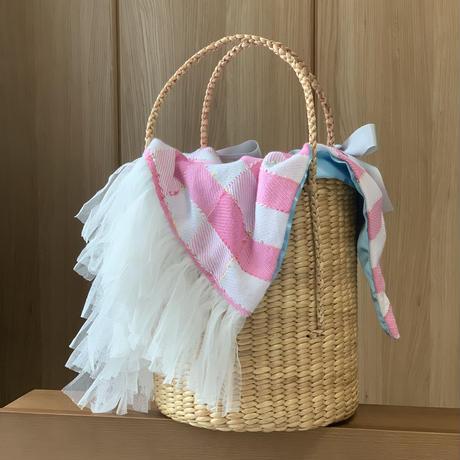 カゴバッグ Sサイズ(Englandtweed ・ pink check tweed)