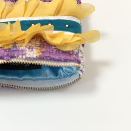 ポーチミニ( Japan tweed ・White skyblue ribbon)